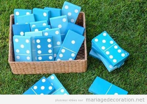 Jeux mariage domino géant