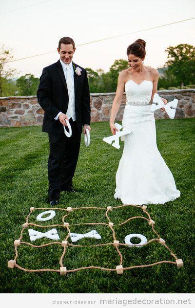 Jeux mariage tic tac toe géant