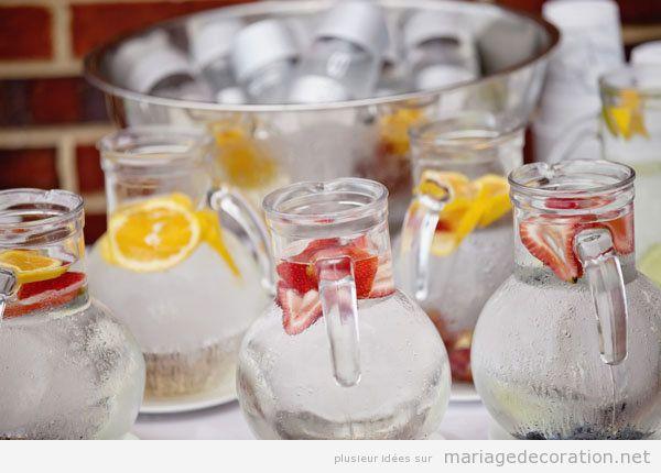 Tendances déco mariage été 2018, eau froide aux fruits et glace