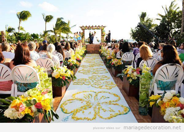 Tendances déco mariage été 2018 fleurs jaunes