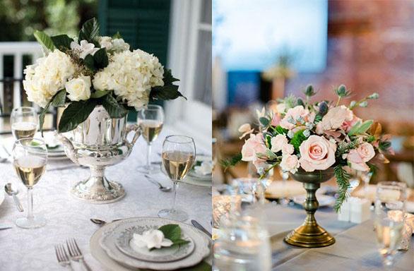 Vases en argent et bronze pour mariage